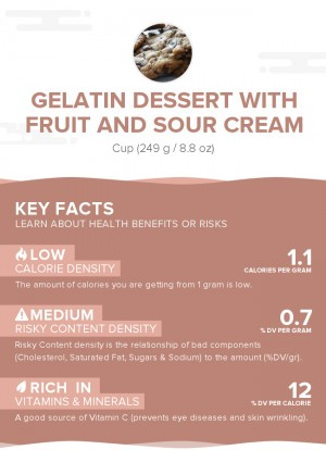 Gelatin dessert with fruit and sour cream