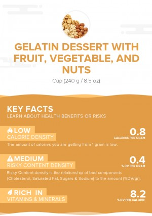 Gelatin dessert with fruit, vegetable, and nuts