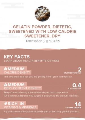 Gelatin powder, dietetic, sweetened with low calorie sweetener, dry