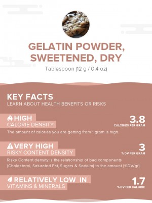 Gelatin powder, sweetened, dry