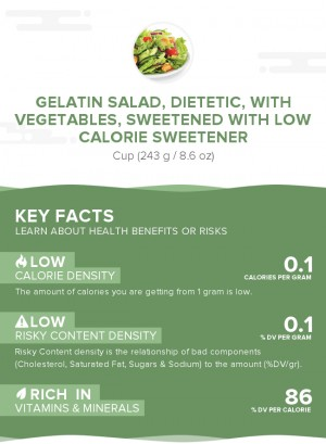 Gelatin salad, dietetic, with vegetables, sweetened with low calorie sweetener
