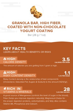 Granola bar, high fiber, coated with non-chocolate yogurt coating