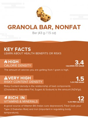 Granola bar, nonfat