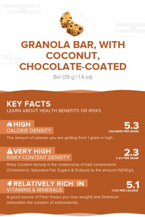 Granola bar, with coconut, chocolate-coated