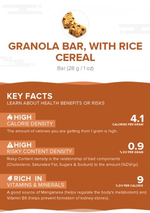 Granola bar, with rice cereal