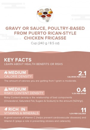 Gravy or sauce, poultry-based from Puerto Rican-style chicken fricasse