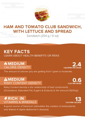 Ham and tomato club sandwich, with lettuce and spread