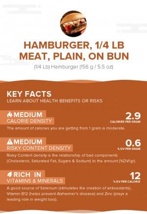 Hamburger, 1/4 lb meat, plain, on bun