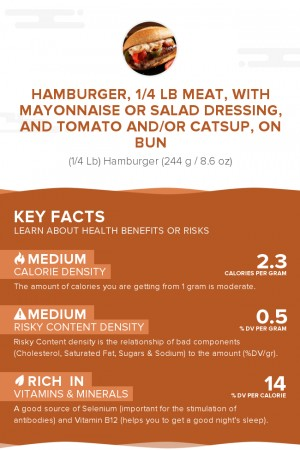 Hamburger, 1/4 lb meat, with mayonnaise or salad dressing, and tomato and/or catsup, on bun
