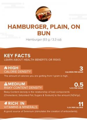 Hamburger, plain, on bun