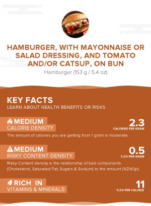 Hamburger, with mayonnaise or salad dressing, and tomato and/or catsup, on bun