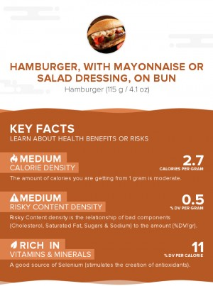 Hamburger, with mayonnaise or salad dressing, on bun