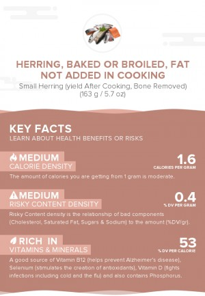 Herring, baked or broiled, fat not added in cooking