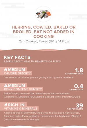 Herring, coated, baked or broiled, fat not added in cooking