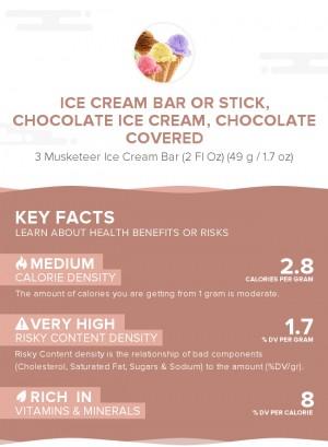 Ice cream bar or stick, chocolate ice cream, chocolate covered