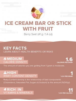 Ice cream bar or stick with fruit