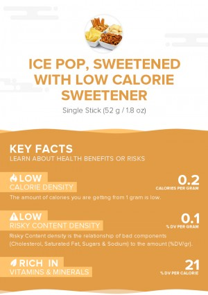 Ice pop, sweetened with low calorie sweetener