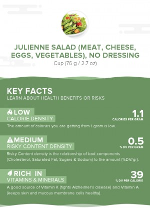 Julienne salad (meat, cheese, eggs, vegetables), no dressing