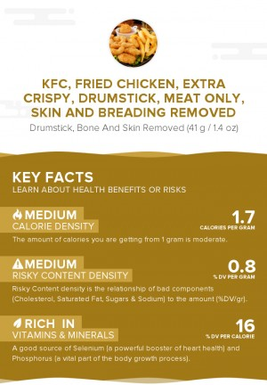 KFC, Fried Chicken, EXTRA CRISPY, Drumstick, meat only, skin and breading removed