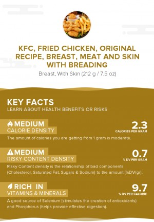KFC, Fried Chicken, ORIGINAL RECIPE, Breast, meat and skin with breading