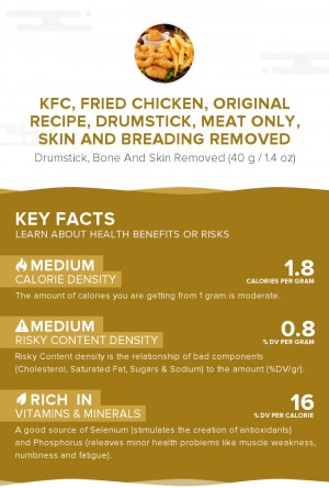 KFC, Fried Chicken, ORIGINAL RECIPE, Drumstick, meat only, skin and breading removed