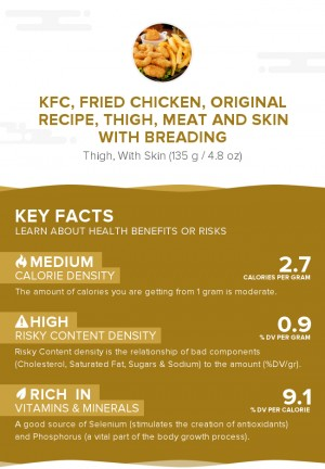 KFC, Fried Chicken, ORIGINAL RECIPE, Thigh, meat and skin with breading