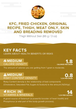 KFC, Fried Chicken, ORIGINAL RECIPE, Thigh, meat only, skin and breading removed