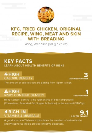 KFC, Fried Chicken, ORIGINAL RECIPE, Wing, meat and skin with breading