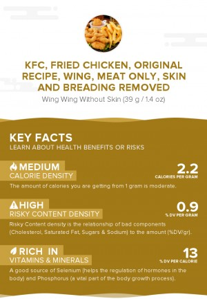 KFC, Fried Chicken, ORIGINAL RECIPE, Wing, meat only, skin and breading removed