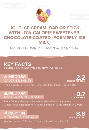 Light ice cream, bar or stick, with low-calorie sweetener, chocolate-coated (formerly ice milk)