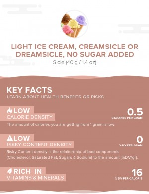 Light ice cream, creamsicle or dreamsicle, no sugar added