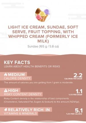 Light ice cream, sundae, soft serve, fruit topping, with whipped cream (formerly ice milk)
