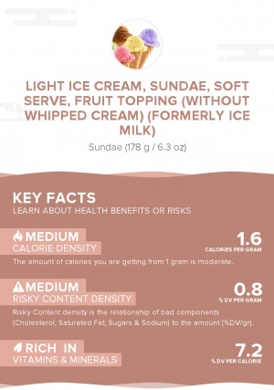 Light ice cream, sundae, soft serve, fruit topping (without whipped cream) (formerly ice milk)