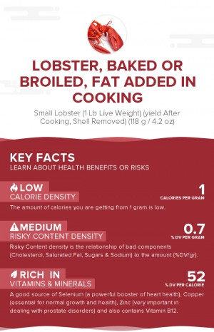Lobster, baked or broiled, fat added in cooking