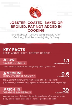 Lobster, coated, baked or broiled, fat not added in cooking