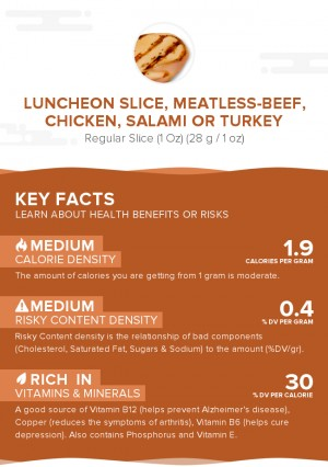 Luncheon slice, meatless-beef, chicken, salami or turkey