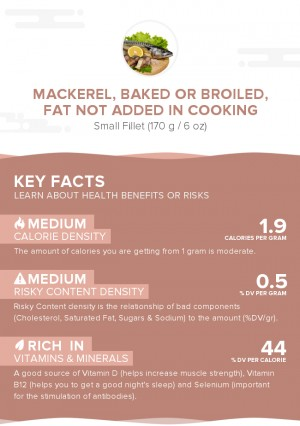 Mackerel, baked or broiled, fat not added in cooking