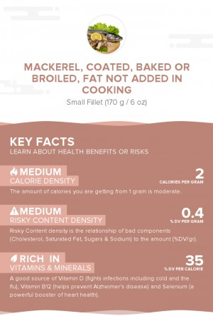 Mackerel, coated, baked or broiled, fat not added in cooking