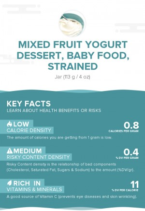 Mixed fruit yogurt dessert, baby food, strained