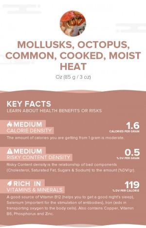 Mollusks, octopus, common, cooked, moist heat