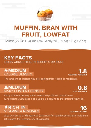 Muffin, bran with fruit, lowfat