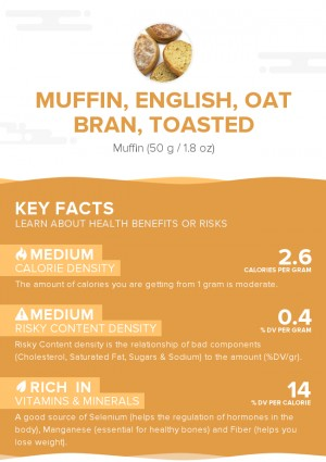 Muffin, English, oat bran, toasted