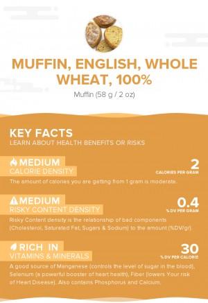 Muffin, English, whole wheat, 100%