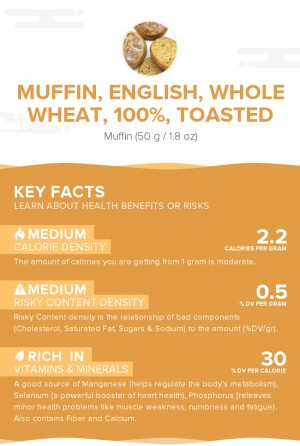Muffin, English, whole wheat, 100%, toasted