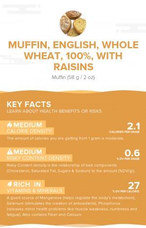 Muffin, English, whole wheat, 100%, with raisins