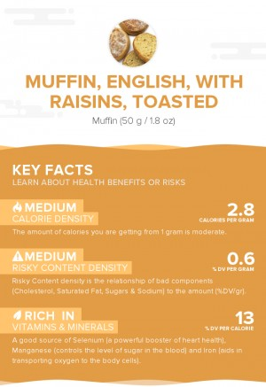 Muffin, English, with raisins, toasted