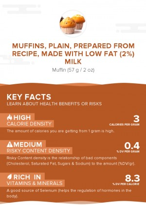 Muffins, plain, prepared from recipe, made with low fat (2%) milk