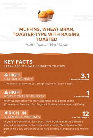 Muffins, wheat bran, toaster-type with raisins, toasted