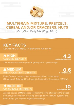 Multigrain mixture, pretzels, cereal and/or crackers, nuts