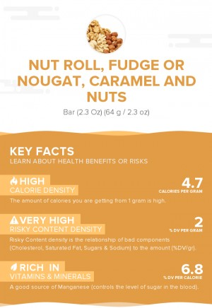 Nut roll, fudge or nougat, caramel and nuts